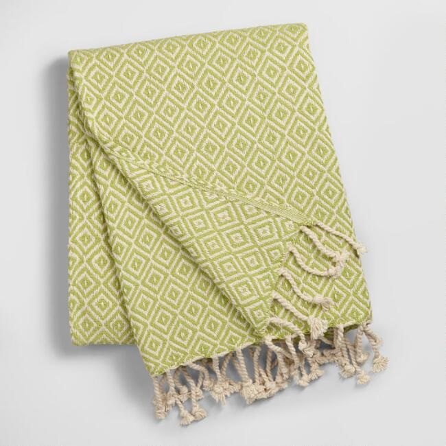 Green Diamond Weave Throw
