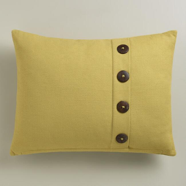 Willow Green Basket Weave Cotton Lumbar Pillow