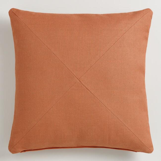 Orange Herringbone Cotton Throw Pillow