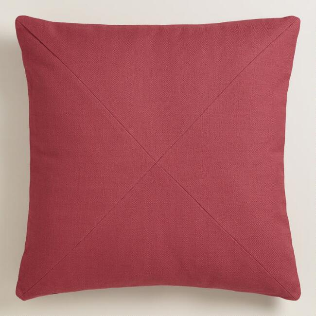Garnet Red Herringbone Cotton Throw Pillow