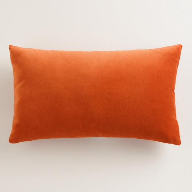 Spicy Orange Velvet Lumbar Pillow