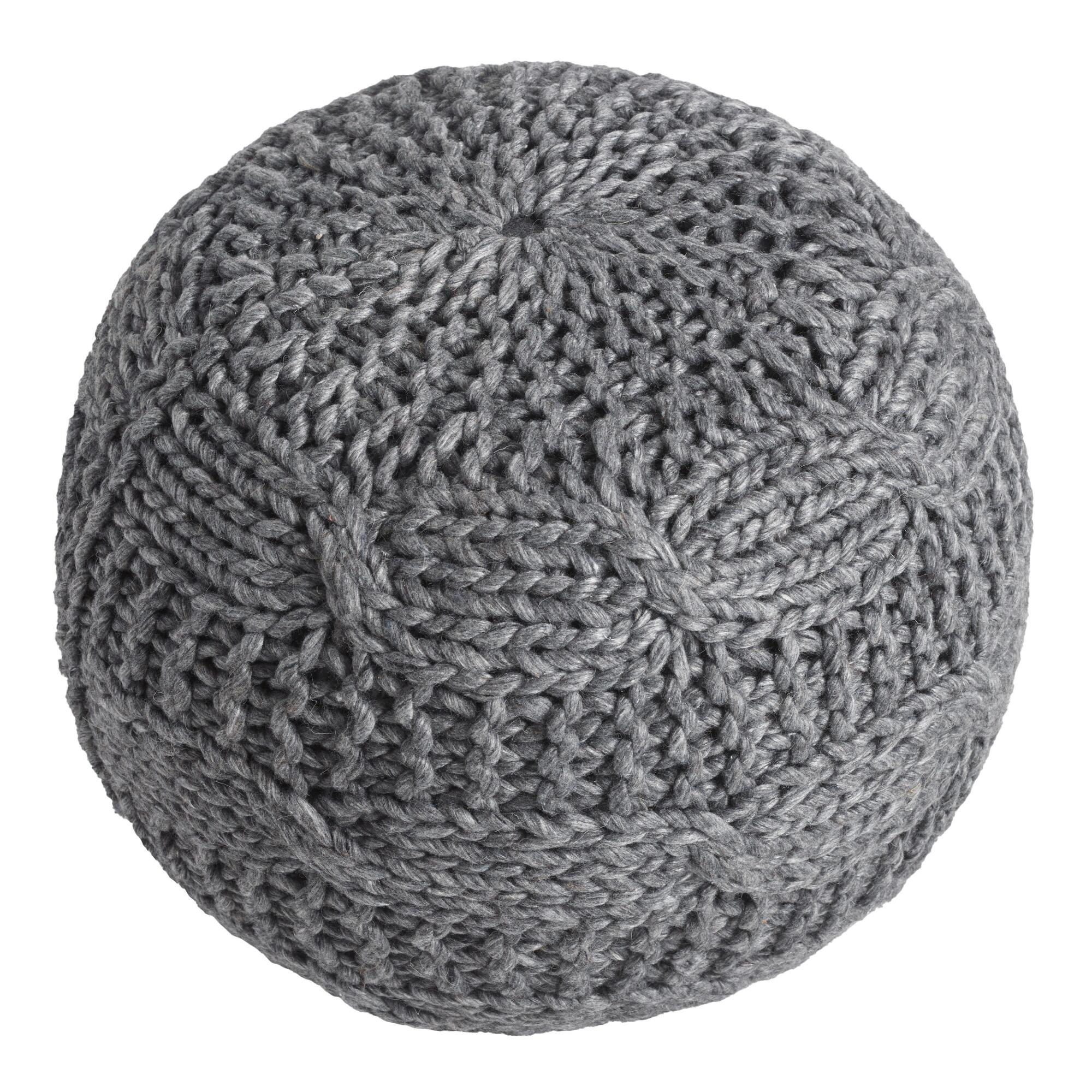 floor pillows floor cushions  poufs  world market - charcoal heather gray sweater pouf