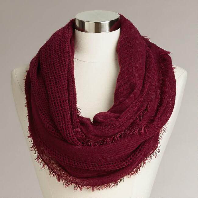 Wine Woven Infinity Scarf with Fringe