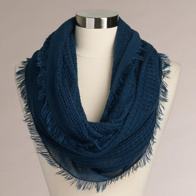 Blue Woven Infinity Scarf with Fringe