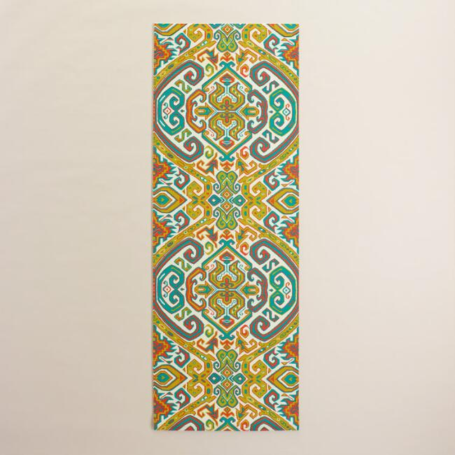 Red and Turquoise Geometric Print Yoga Mat