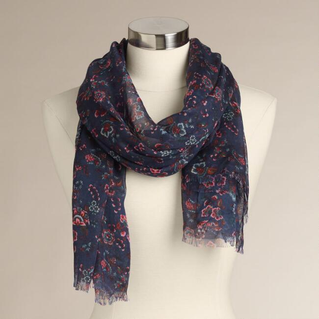 Indigo with Pink Floral Frayed Scarf