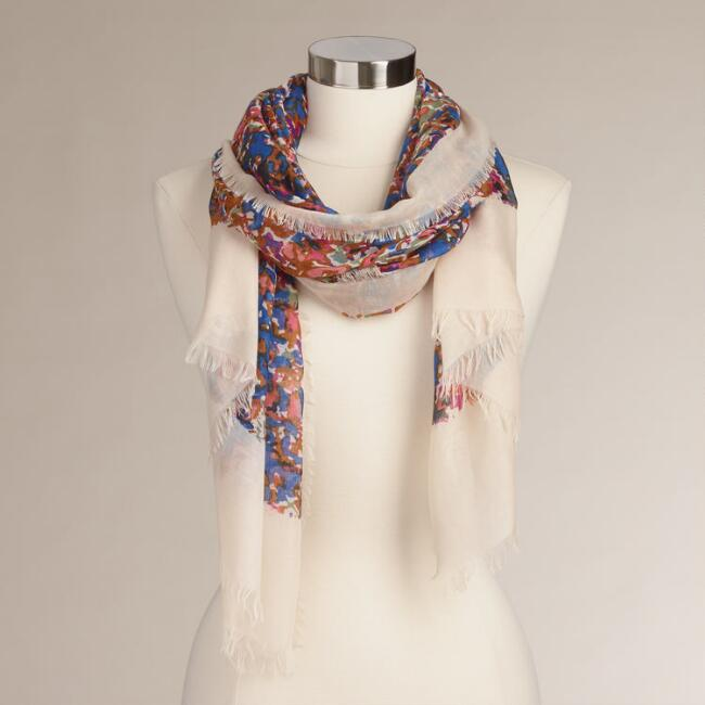 Blue, Brown and Pink Watercolor Frayed Scarf