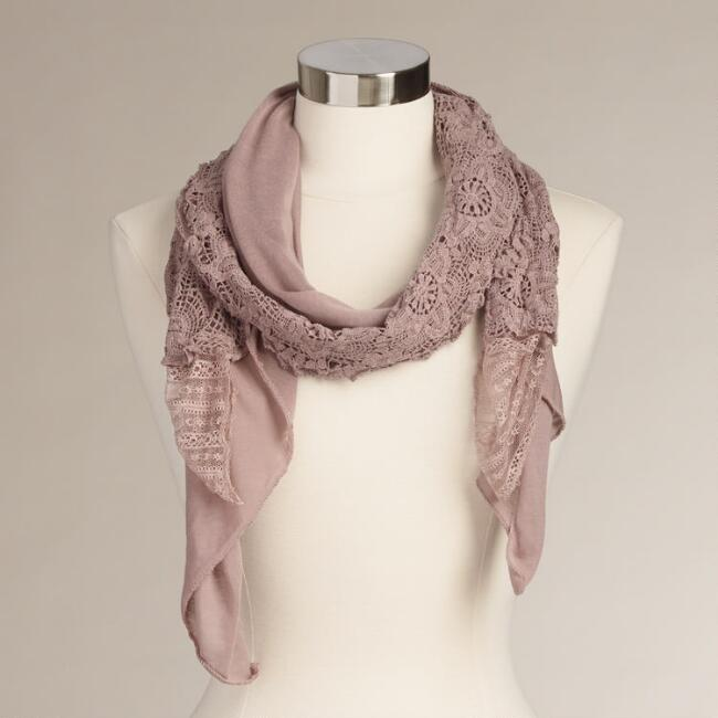 Mauve Lace and Jersey Scarf