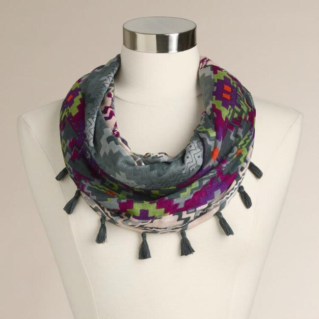 Gray and Purple Southwest Infinity Scarf with Tassels