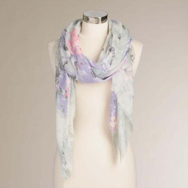Gray and Lavender Skull Scarf