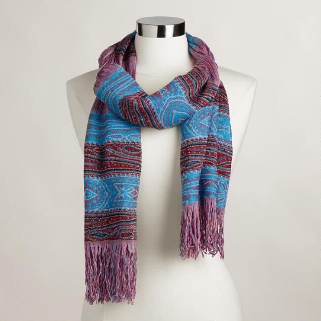 Red and Blue Stripe Open-Weave Scarf