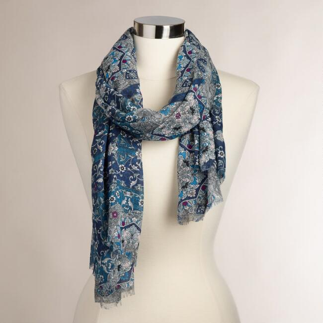 Tonal Blue Medallion Scarf