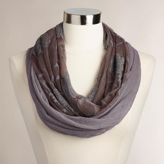 Lavender Cotton and Mesh Infinity Scarf