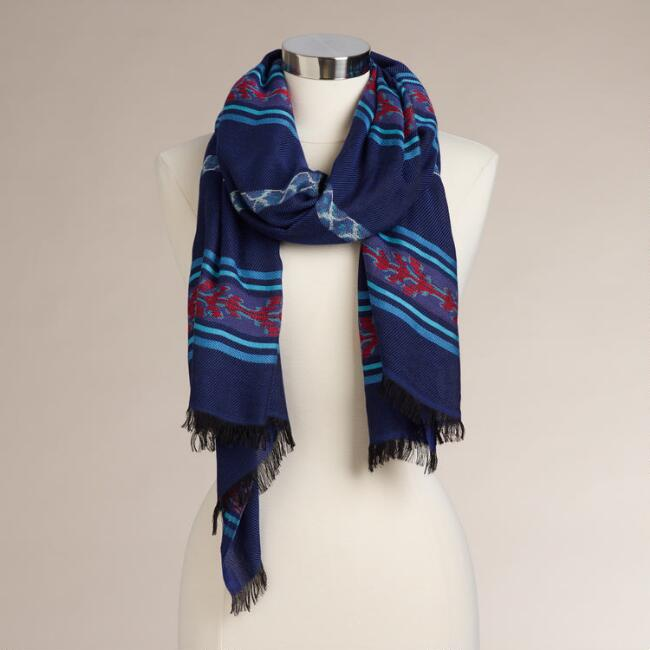 Blue and Red Embroidered Striped Border Scarf