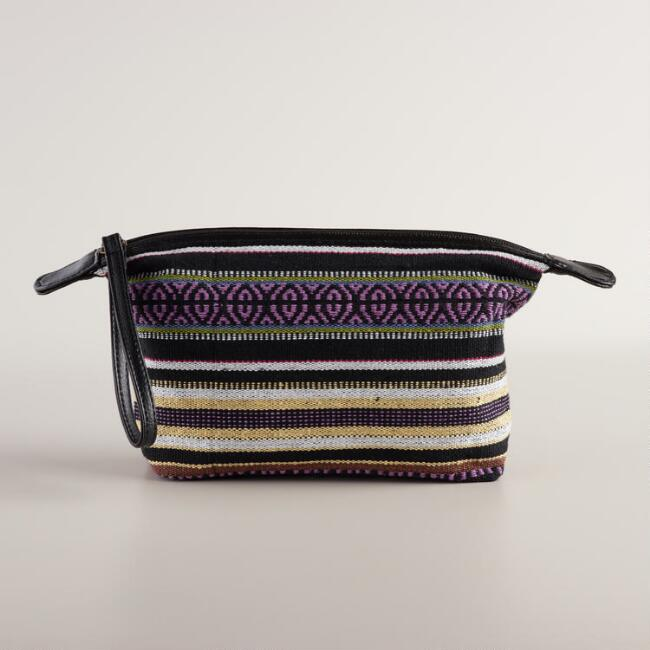 Black and Purple Stripe Wristlet Pouch