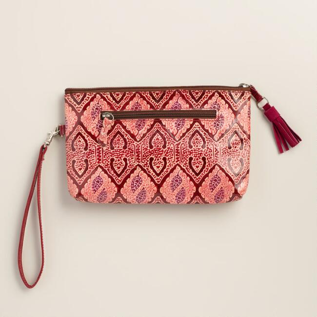 Red Mosaic Leather Clutch