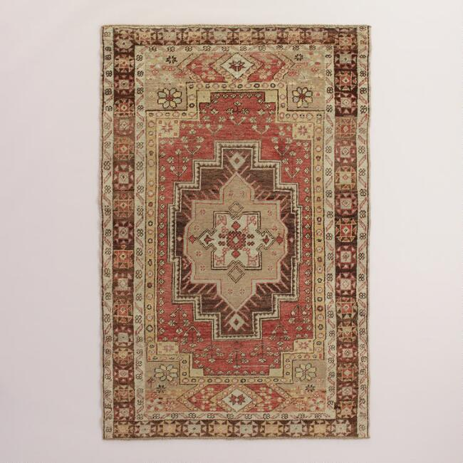 4.2'x6.3' Vintage Geo Medallion Turkish Area Rug