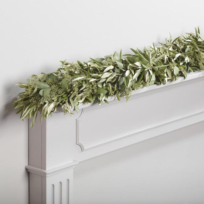 Live 6' Olive and Eucalyptus Garland