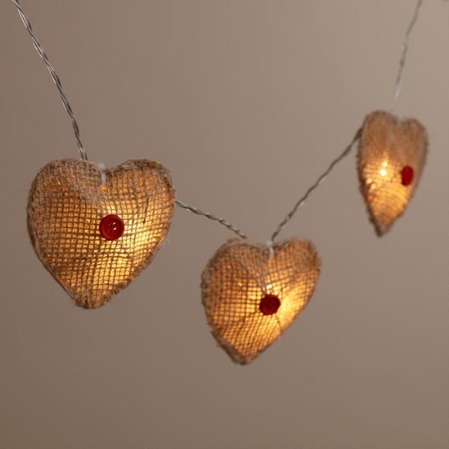 Burlap Heart 10-Bulb Battery Operated String Lights
