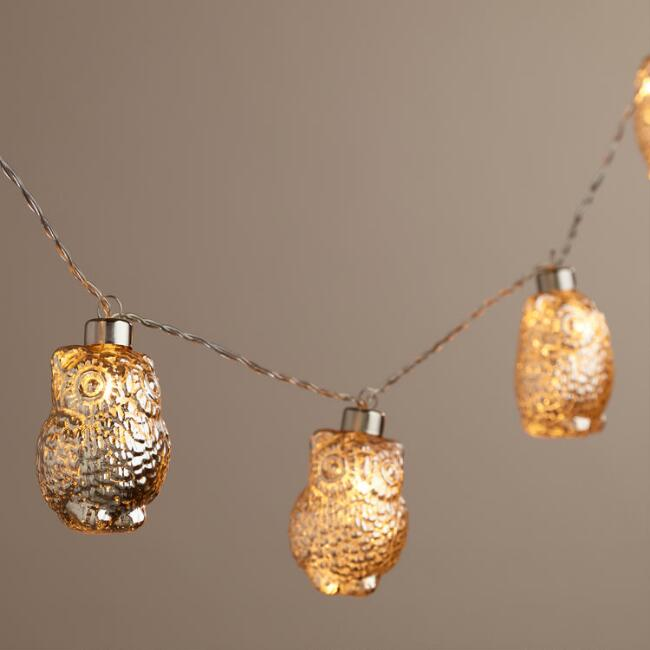 Mercury Glass Owl LED 10-Bulb Battery Operated String Lights
