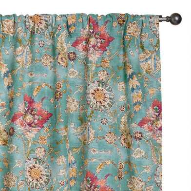 Aqua Floral Cotton Genevieve Sleeve Top Curtains Set Of 2