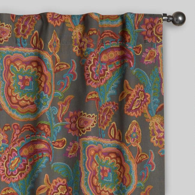 Paisley Confetti Cotton Concealed Tab Top Curtains, Set of 2