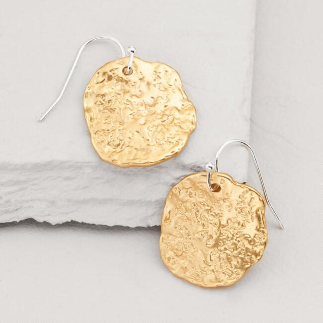 Gold Hammered Coin Drop Earrings