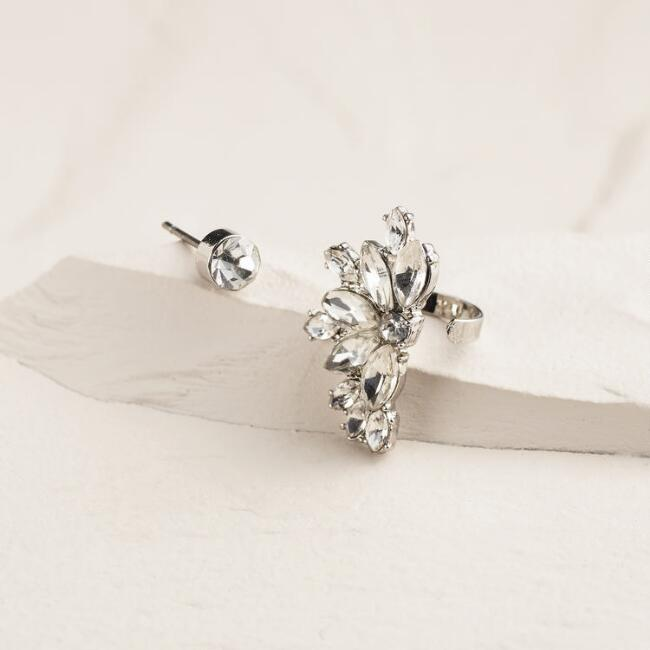 Silver and Rhinestone Flower Ear Cuff Stud Earrings