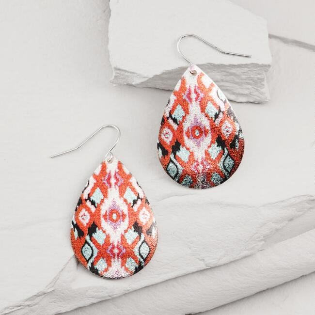 Diamond Pattern Teardrop Earrings