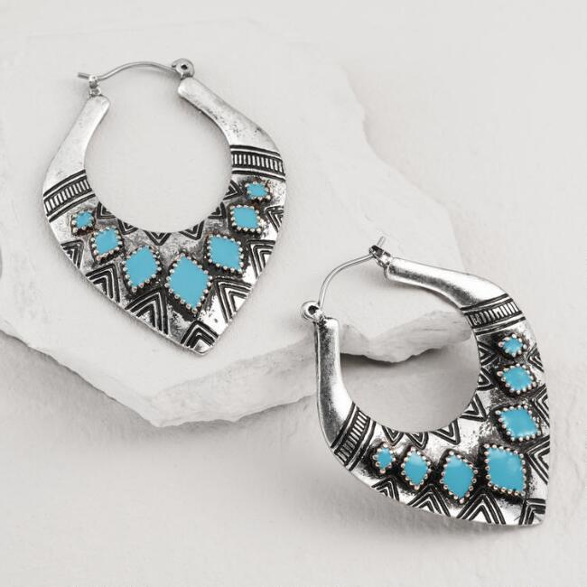 Silver and Turquoise Tribal Hoop Earrings