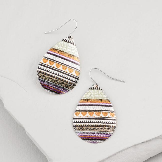 Shimmering Tribal Teardrop Earrings