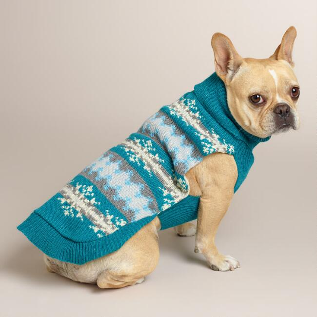 Blue Fair Isle Snowflake Knit Dog Sweater