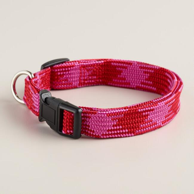 Red and Pink Woven Dog Collar