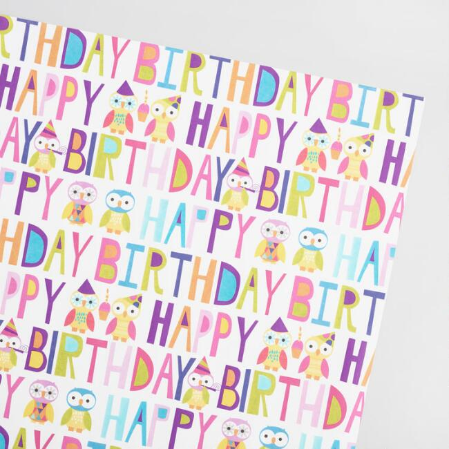 Birthday Owls and Text Kraft Wrapping Paper Roll