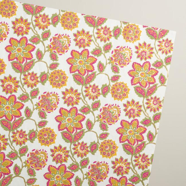 Jaipur Floral Handmade Wrapping Paper Rolls, 3-Pack