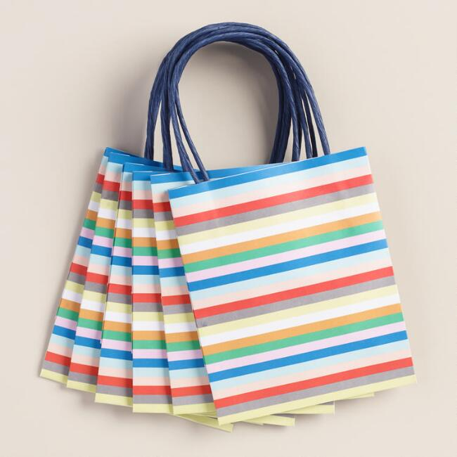 Mini Stripe Gift Bags, 6-Pack