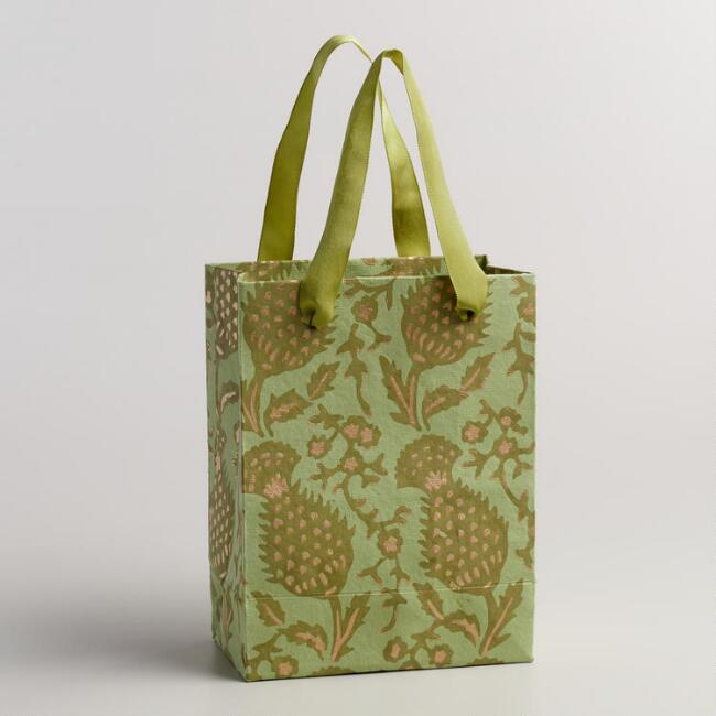 Small Green Thistle Handmade Gift Bags, Set of 2