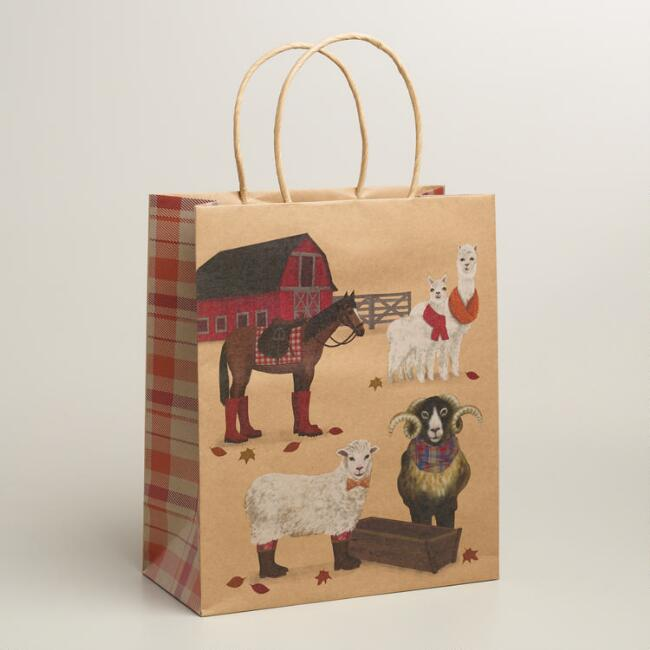 Large Barn Animals Kraft Gift Bags, Set of 2