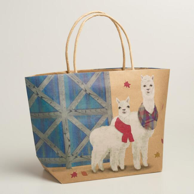 Alpacas Kraft Market Gift Bags, Set of 2