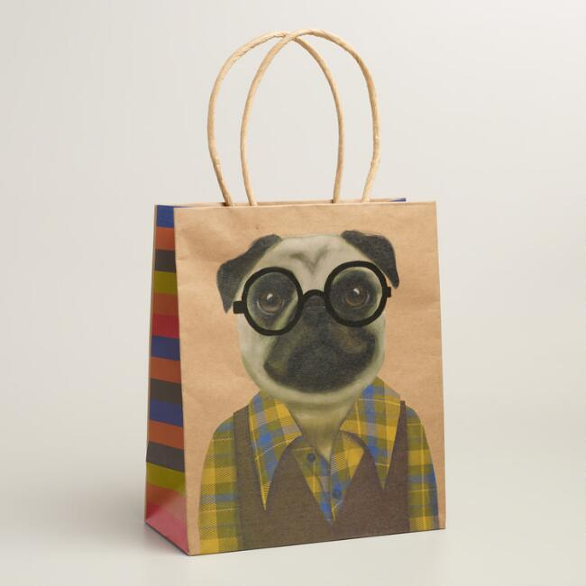 Medium Hipster Pug Gift Bags, Set of 2