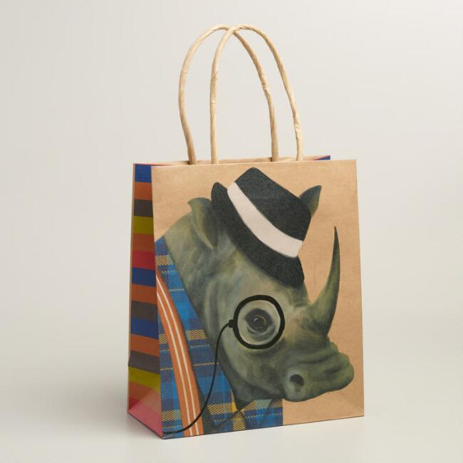 Medium Hipster Rhino Gift Bags, Set of 2