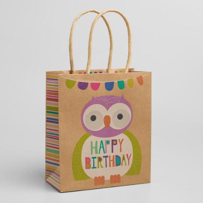 Small Happy Birthday Owl Gift Bags, Set of 3