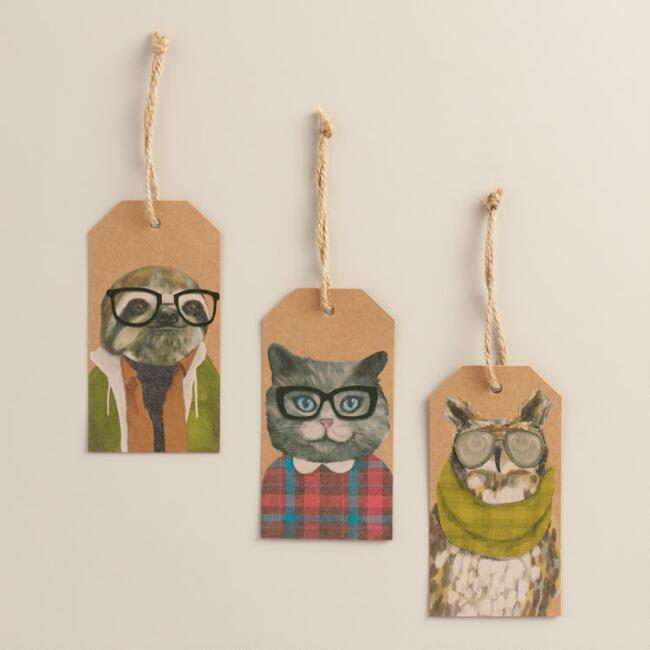 Hipster Animal Gift Tags, Set of 6