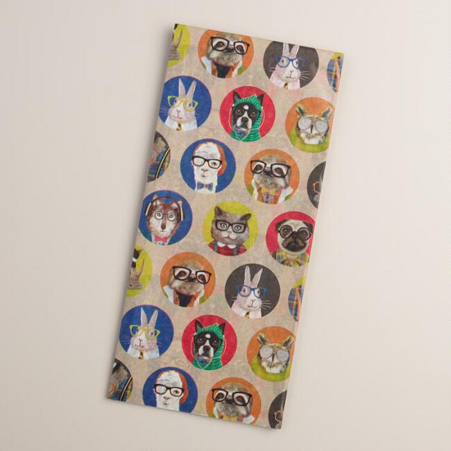 Circle Hipster Animals Tissue Paper, 4-Count