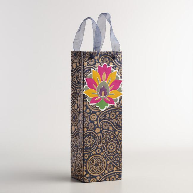 Blue and Gold Paisley Handmade Wine Gift Bags, Set of 2