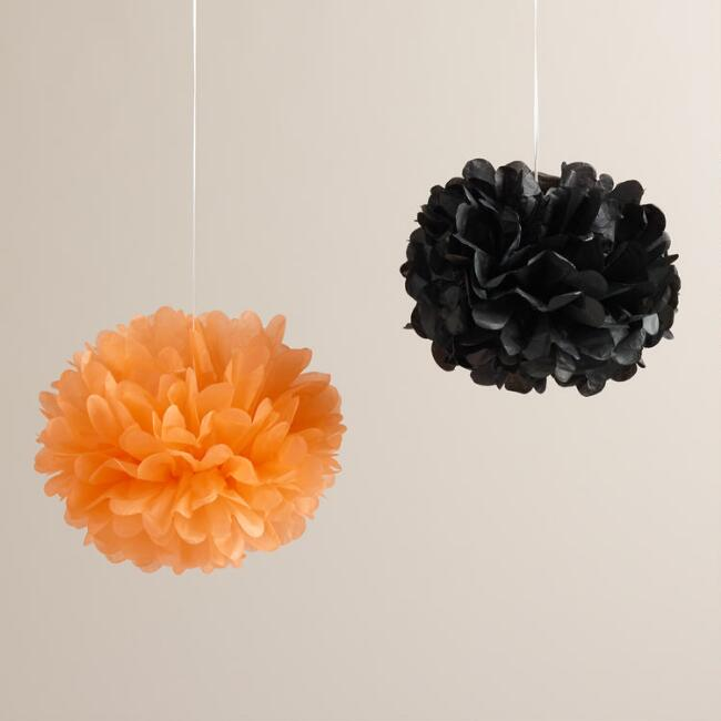 Orange and Black Pom-Poms, 8-Pack