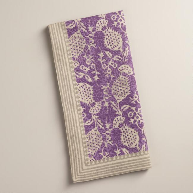 Purple Thistle Napkins, Set of 4