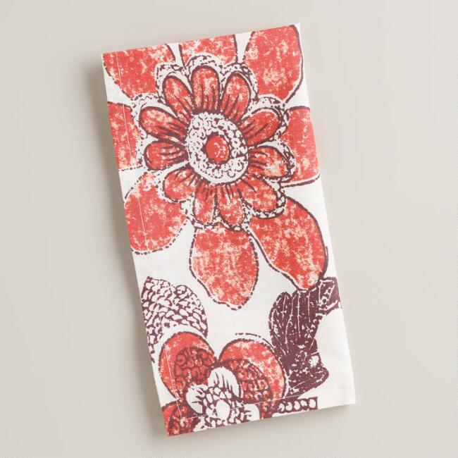 Coral and Plum Floral Napkins, Set of 4