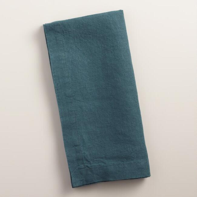Indigo Blue 100% Linen Napkins, Set of 4