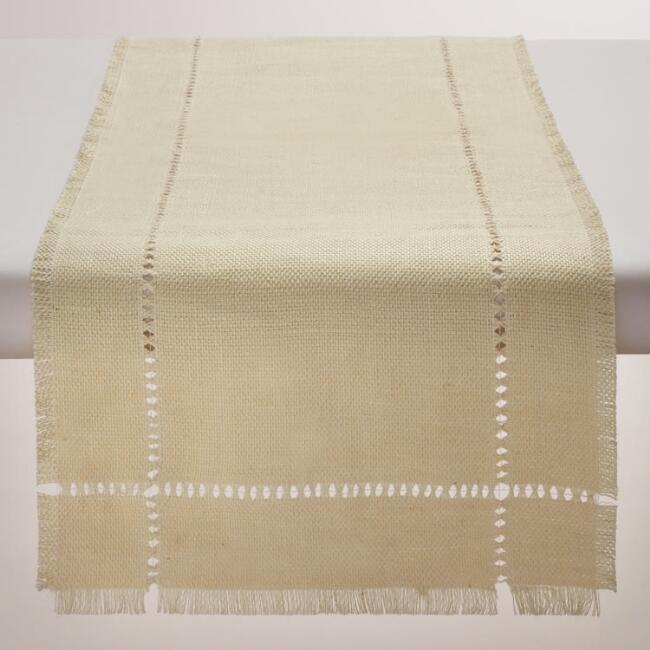 Ivory Washed Jute Table Runner